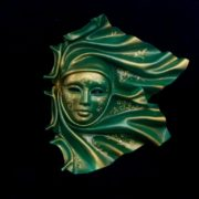 "leathe mask ""vento"" ceramic big Green"