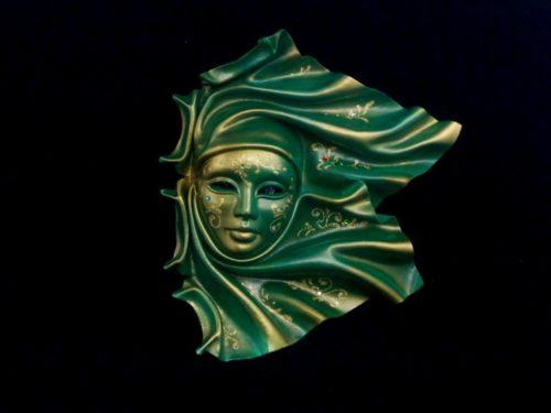 "leathe mask ""vento"" ceramic big Green"