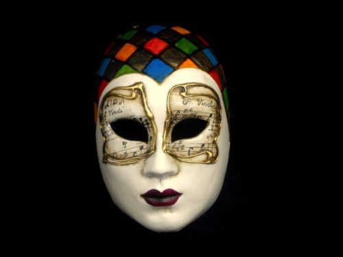 woman face music and harlequin hat