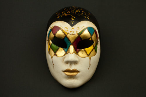face with harlequin mask
