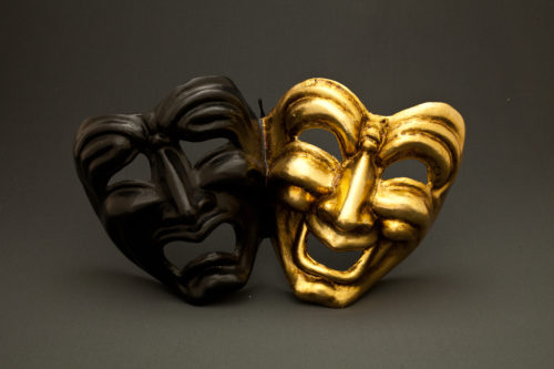 tragedy comedy black and gold