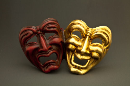 tragedy and comedy red and gold