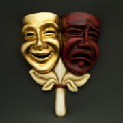 tragedy comedy red and gold