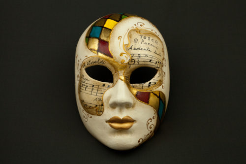 face harlequin and music