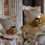 couple with golden masks